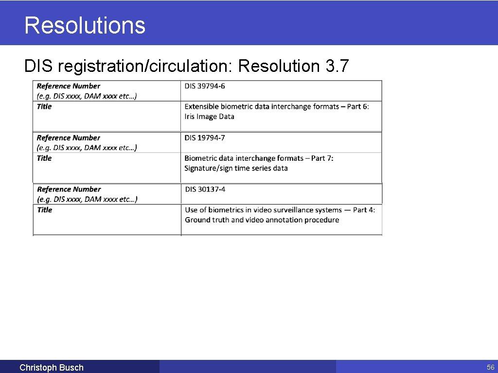 Resolutions DIS registration/circulation: Resolution 3. 7 Christoph Busch 56
