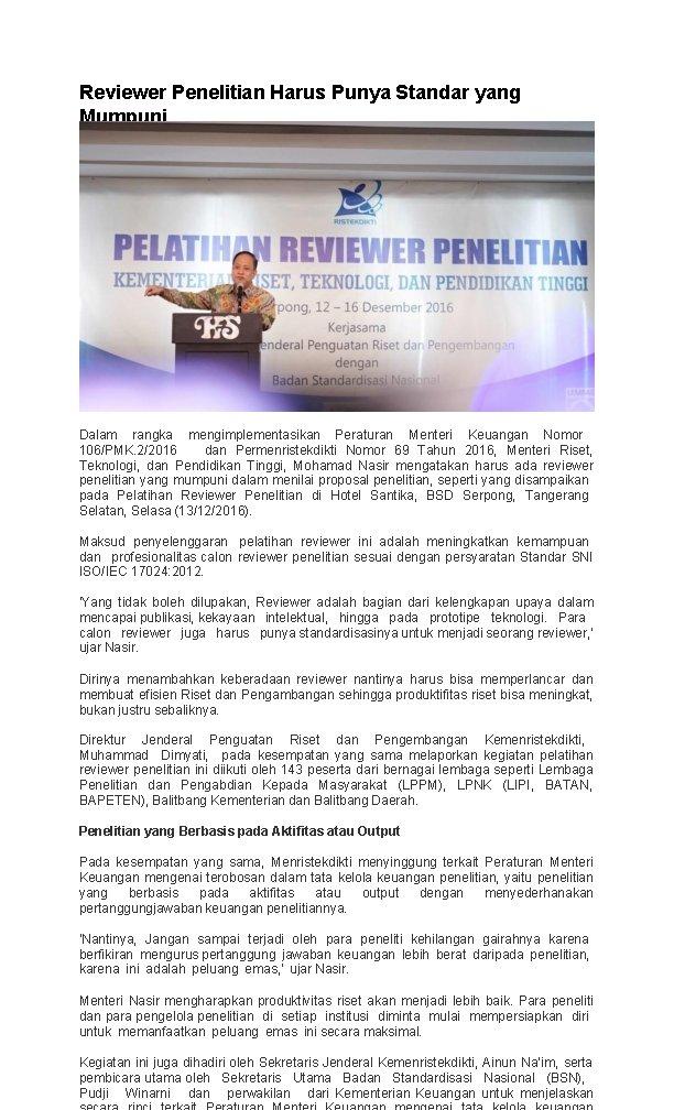 Reviewer Penelitian Harus Punya Standar yang Mumpuni Dalam rangka mengimplementasikan Peraturan Menteri Keuangan Nomor