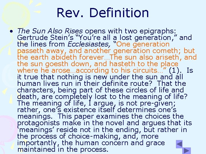 """Rev. Definition • The Sun Also Rises opens with two epigraphs: Gertrude Stein's """"You're"""