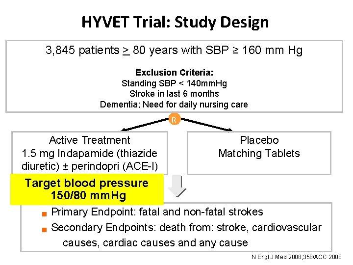 HYVET Trial: Study Design 3, 845 patients > 80 years with SBP ≥ 160