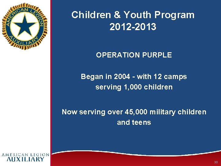 Children & Youth Program 2012 -2013 OPERATION PURPLE Began in 2004 - with 12