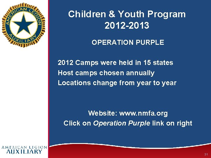 Children & Youth Program 2012 -2013 OPERATION PURPLE 2012 Camps were held in 15