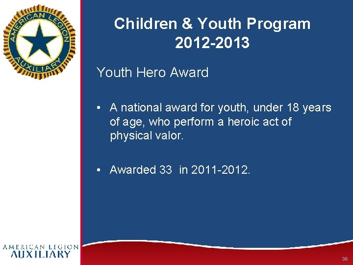 Children & Youth Program 2012 -2013 Youth Hero Award • A national award for