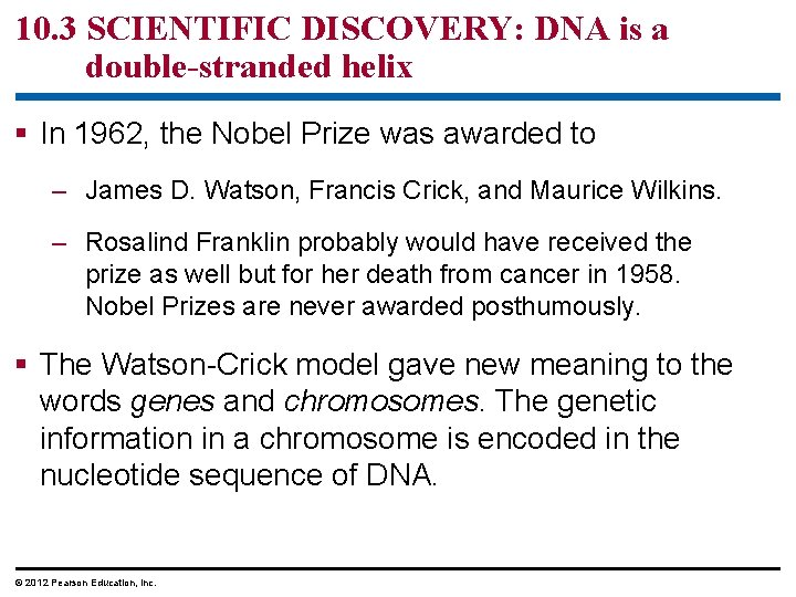 10. 3 SCIENTIFIC DISCOVERY: DNA is a double-stranded helix § In 1962, the Nobel