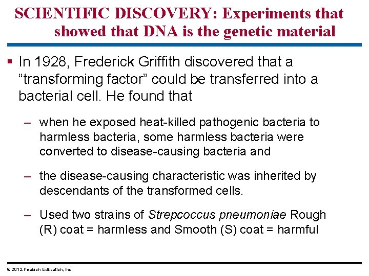 SCIENTIFIC DISCOVERY: Experiments that showed that DNA is the genetic material § In 1928,