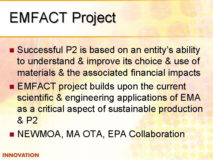 EMFACT Project Successful P 2 is based on an entity's ability to understand &