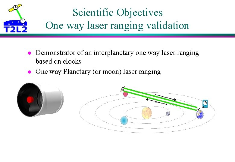 Scientific Objectives One way laser ranging validation l l Demonstrator of an interplanetary one