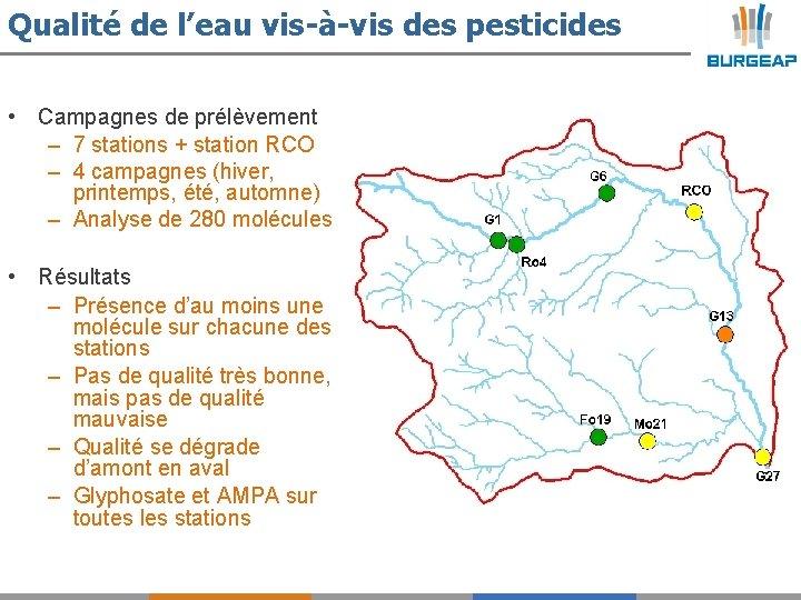 Qualité de l'eau vis-à-vis des pesticides • Campagnes de prélèvement – 7 stations +