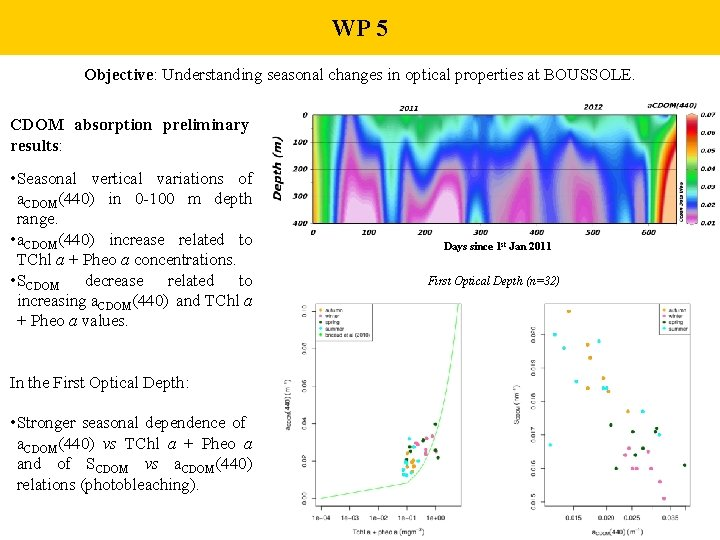WP 5 Objective: Understanding seasonal changes in optical properties at BOUSSOLE. CDOM absorption preliminary