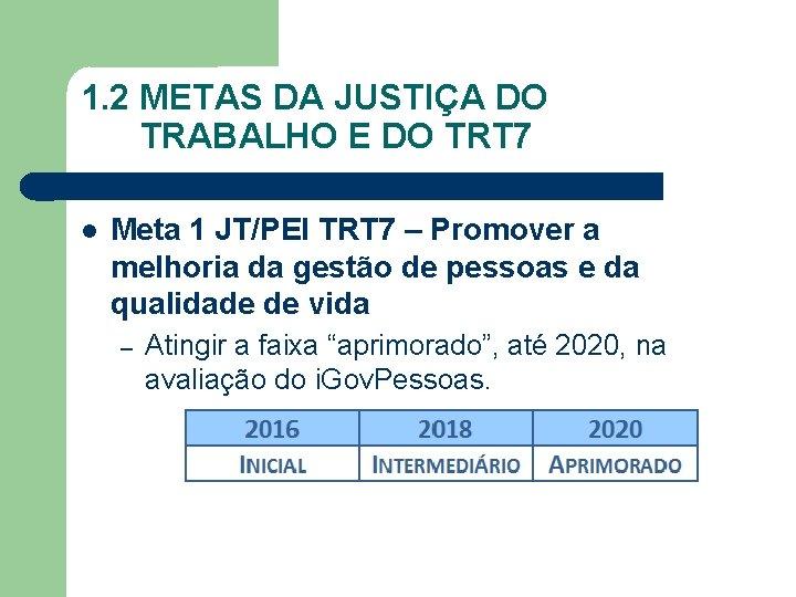1. 2 METAS DA JUSTIÇA DO TRABALHO E DO TRT 7 Meta 1 JT/PEI