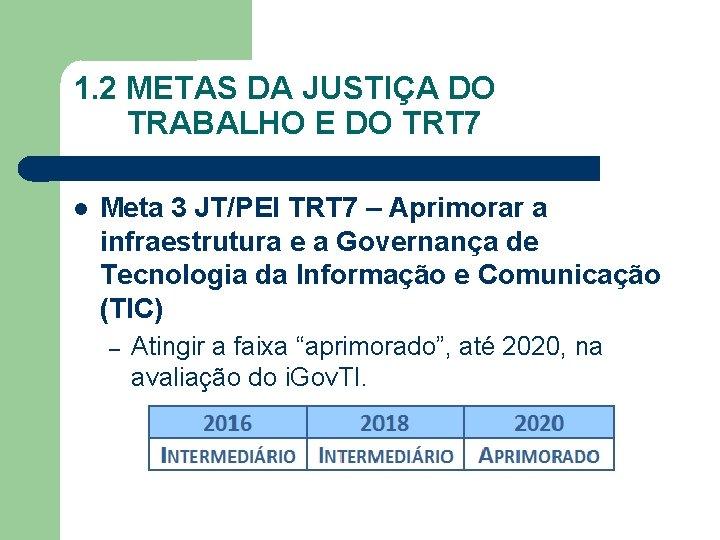 1. 2 METAS DA JUSTIÇA DO TRABALHO E DO TRT 7 Meta 3 JT/PEI