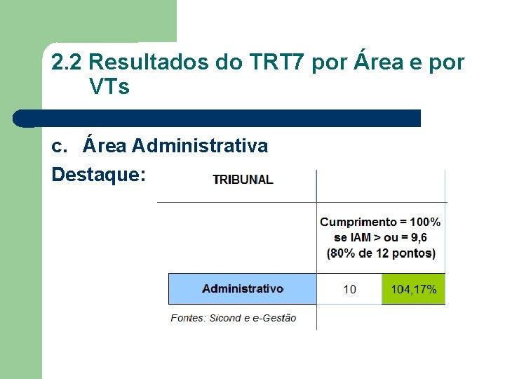 2. 2 Resultados do TRT 7 por Área e por VTs c. Área Administrativa
