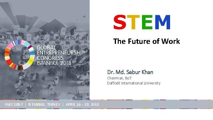 The Future of Work Dr. Md. Sabur Khan Chairman, Bo. T Daffodil International University