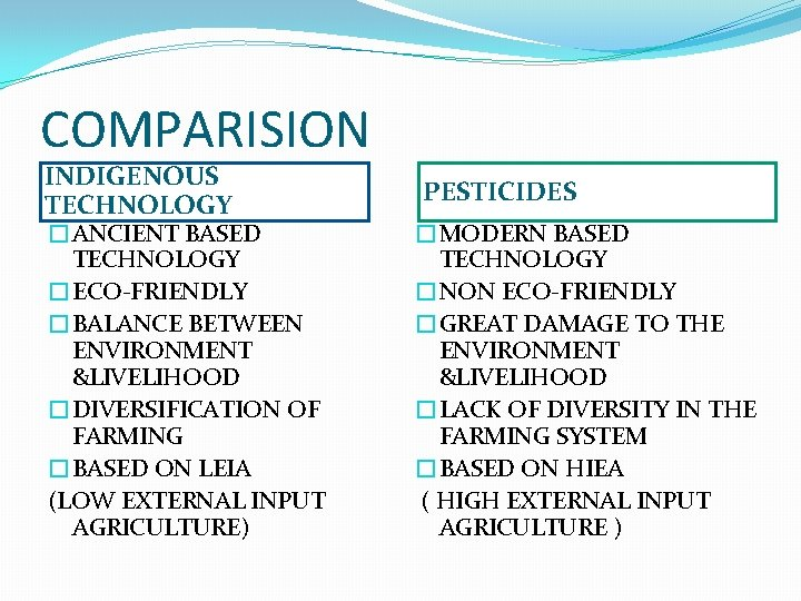 COMPARISION INDIGENOUS TECHNOLOGY �ANCIENT BASED TECHNOLOGY �ECO-FRIENDLY �BALANCE BETWEEN ENVIRONMENT &LIVELIHOOD �DIVERSIFICATION OF FARMING