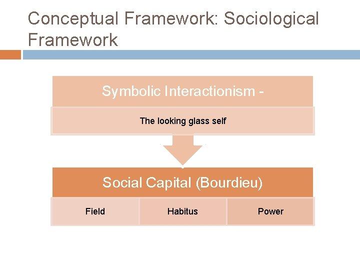 Conceptual Framework: Sociological Framework Symbolic Interactionism The looking glass self Social Capital (Bourdieu) Field