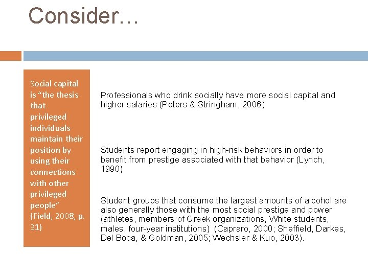 """Consider… Social capital is """"the thesis that privileged individuals maintain their position by using"""
