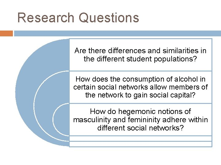 Research Questions Are there differences and similarities in the different student populations? How does