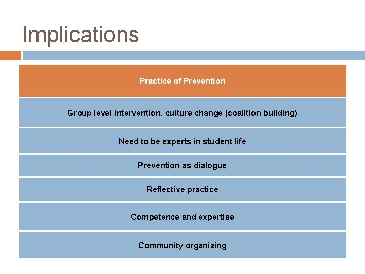 Implications Practice of Prevention Group level intervention, culture change (coalition building) Need to be