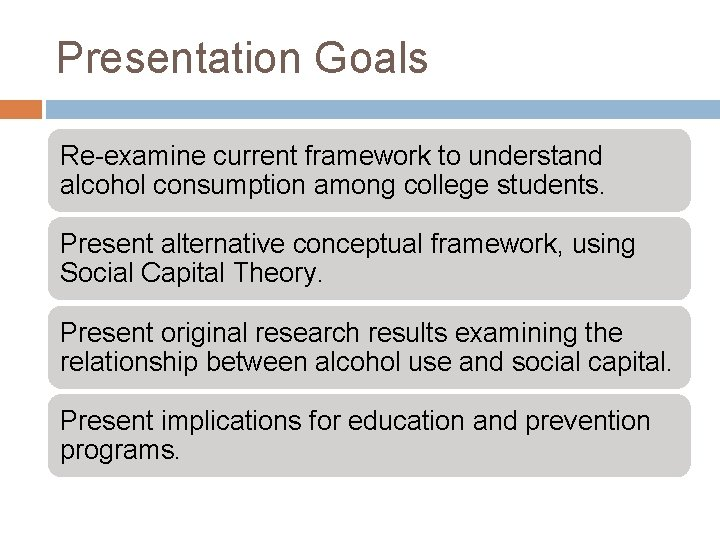 Presentation Goals Re-examine current framework to understand alcohol consumption among college students. Present alternative