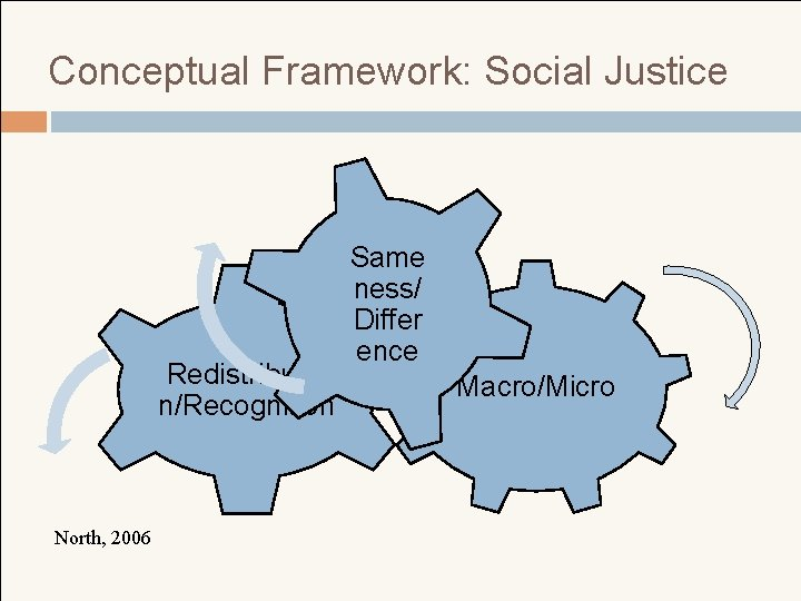 Conceptual Framework: Social Justice Redistributio n/Recognition North, 2006 Same ness/ Differ ence Macro/Micro