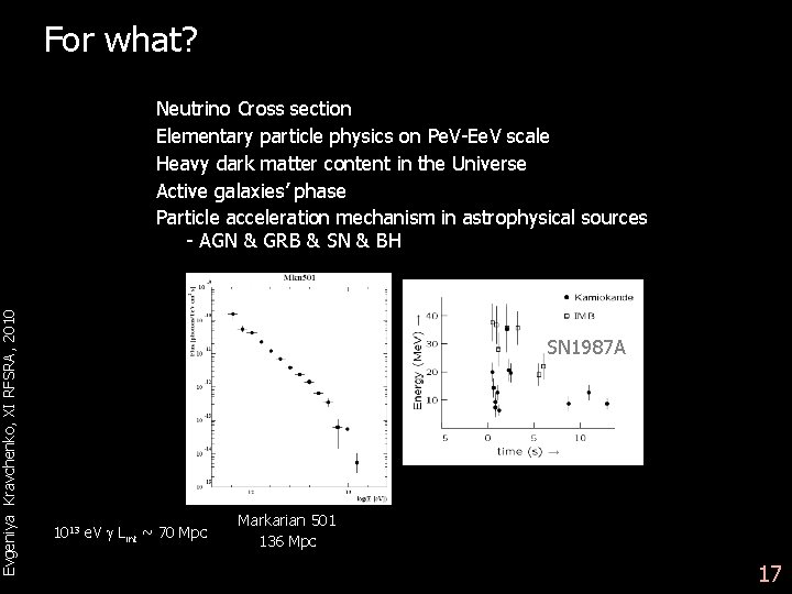 Evgeniya Kravchenko, XI RFSRA, 2010 For what? Neutrino Cross section Elementary particle physics on