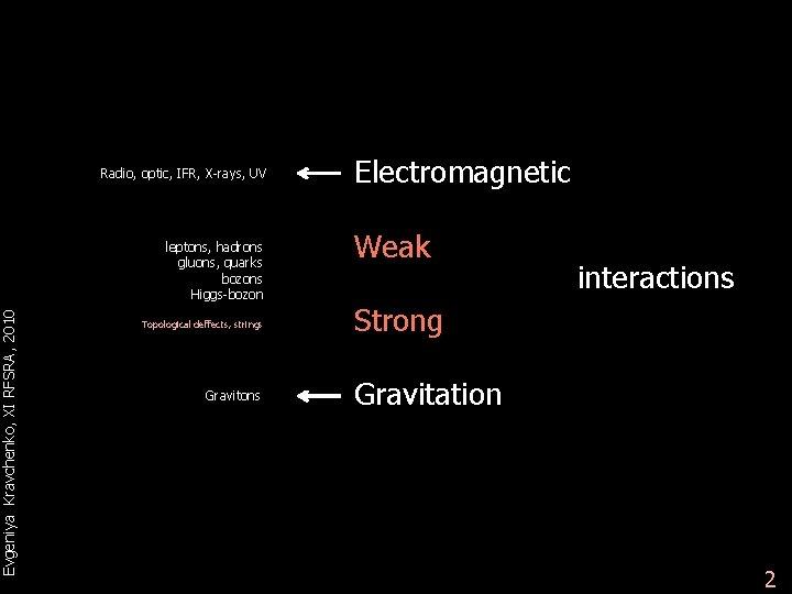 Evgeniya Kravchenko, XI RFSRA, 2010 Radio, optic, IFR, X-rays, UV leptons, hadrons gluons, quarks