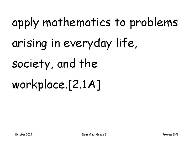 apply mathematics to problems arising in everyday life, society, and the workplace. [2. 1