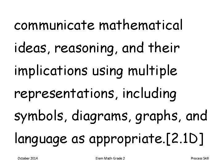 communicate mathematical ideas, reasoning, and their implications using multiple representations, including symbols, diagrams, graphs,