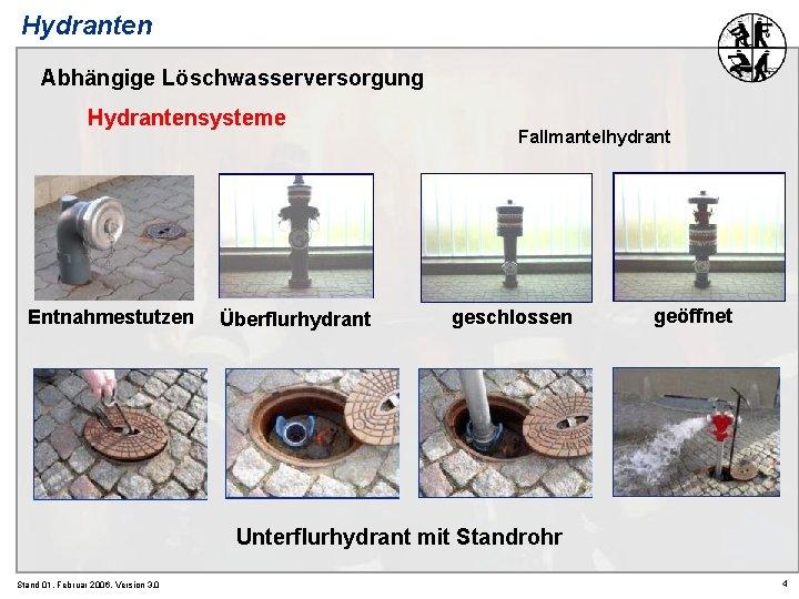 Hydranten Abhängige Löschwasserversorgung Hydrantensysteme Entnahmestutzen Überflurhydrant Fallmantelhydrant geschlossen geöffnet Unterflurhydrant mit Standrohr Stand 01.