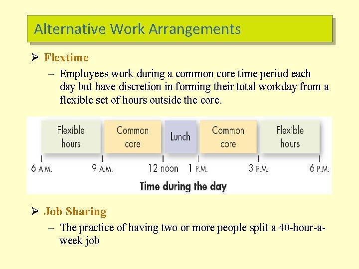Alternative Work Arrangements Ø Flextime – Employees work during a common core time period