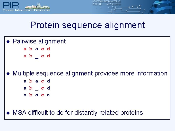 Protein sequence alignment l Pairwise alignment a b a c d a b _