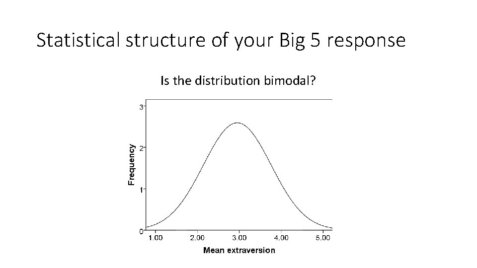Statistical structure of your Big 5 response Is the distribution bimodal?