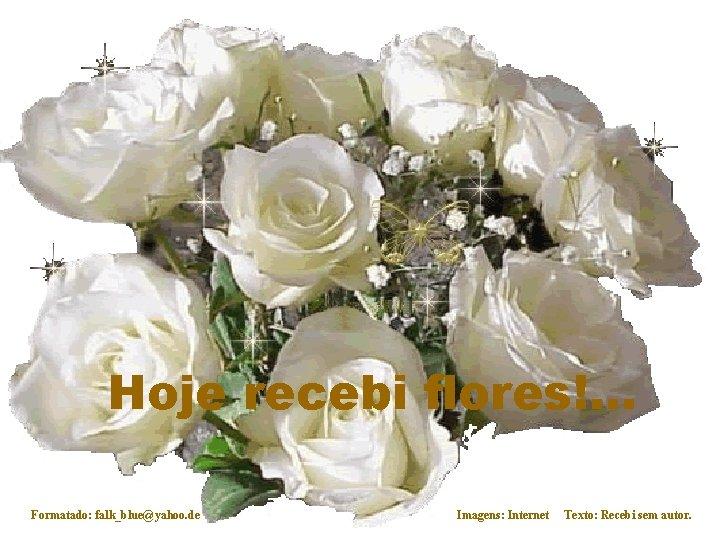 Hoje recebi flores!. . . Formatado: falk_blue@yahoo. de Imagens: Internet Texto: Recebi sem autor.