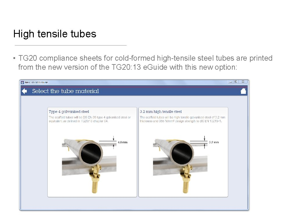 High tensile tubes • TG 20 compliance sheets for cold-formed high-tensile steel tubes are