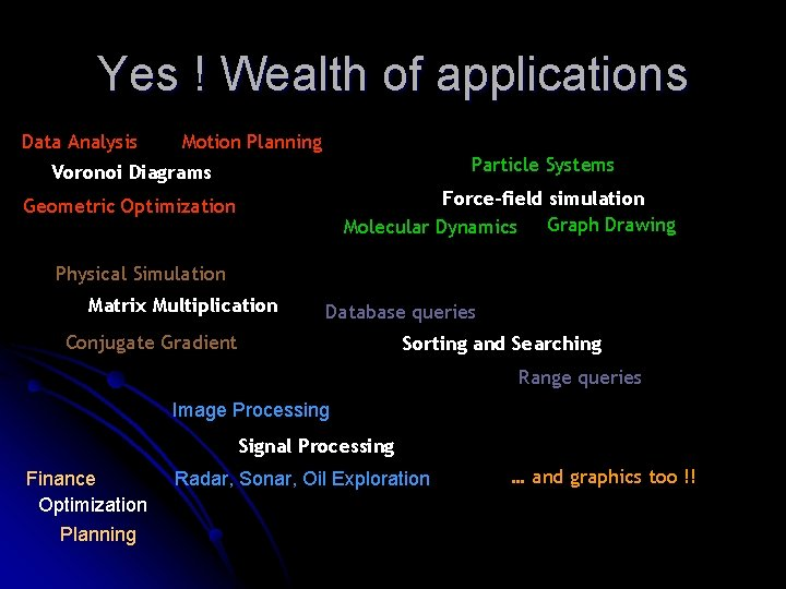 Yes ! Wealth of applications Data Analysis Motion Planning Particle Systems Voronoi Diagrams Force-field