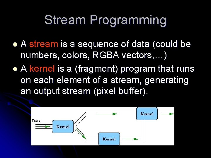 Stream Programming A stream is a sequence of data (could be numbers, colors, RGBA