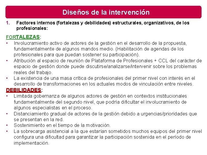 Diseños de la intervención 1. Factores internos (fortalezas y debilidades) estructurales, organizativos, de los