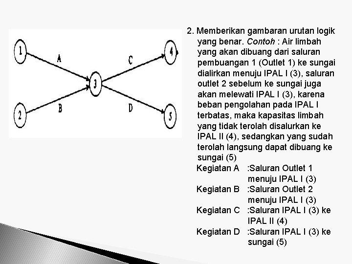 2. Memberikan gambaran urutan logik yang benar. Contoh : Air limbah yang akan dibuang