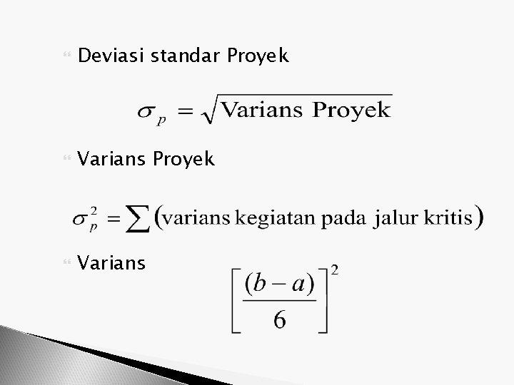 Deviasi standar Proyek Varians