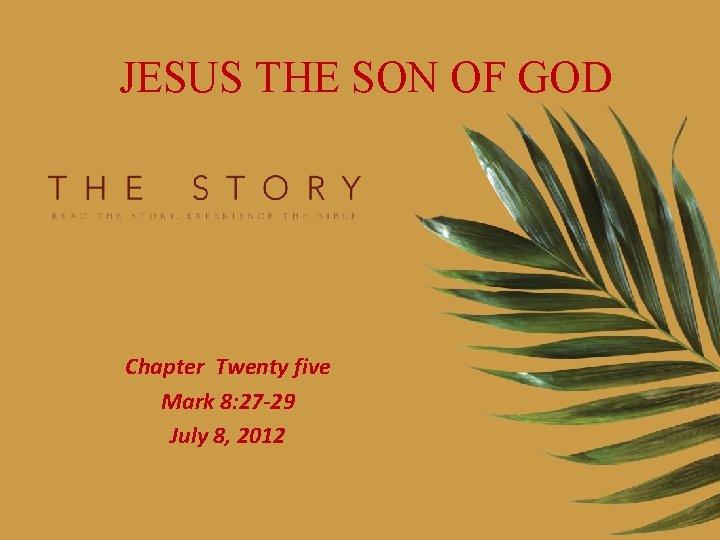 JESUS THE SON OF GOD Chapter Twenty five Mark 8: 27 -29 July 8,
