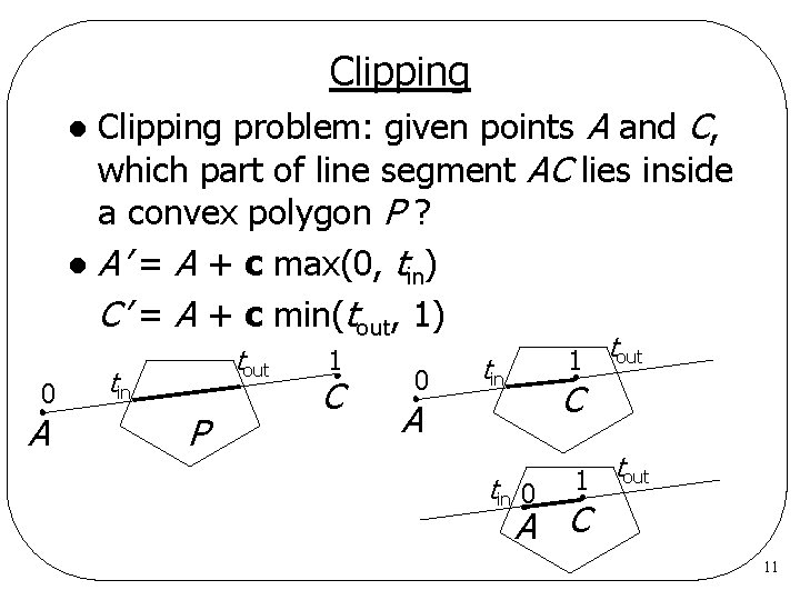 Clipping problem: given points A and C, which part of line segment AC lies