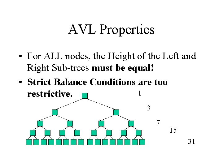 AVL Properties • For ALL nodes, the Height of the Left and Right Sub-trees