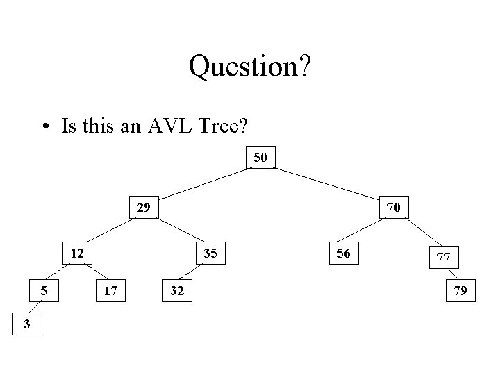 Question? • Is this an AVL Tree? 50 29 70 12 5 3 35