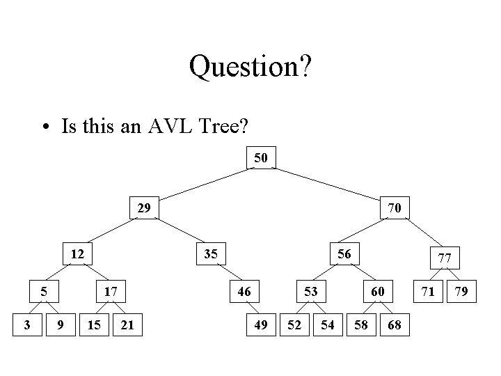 Question? • Is this an AVL Tree? 50 29 12 35 5 3 17
