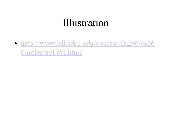 Illustration • http: //www. eli. sdsu. edu/courses/fall 96/cs 66 0/notes/avl. html
