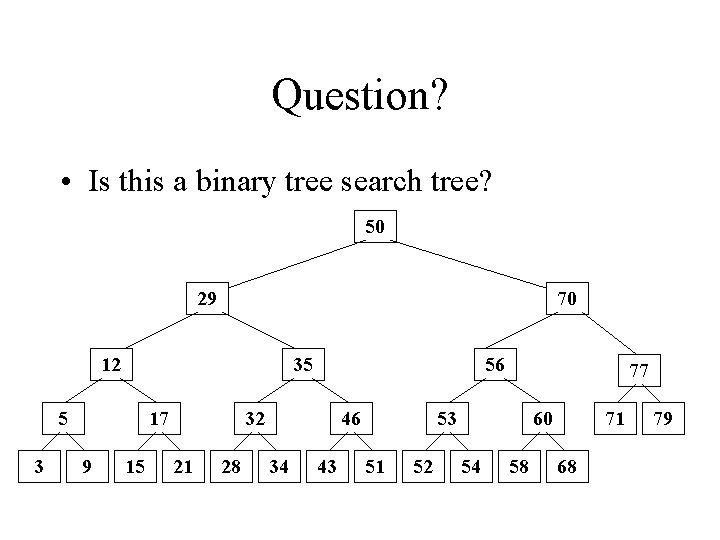 Question? • Is this a binary tree search tree? 50 29 70 12 35