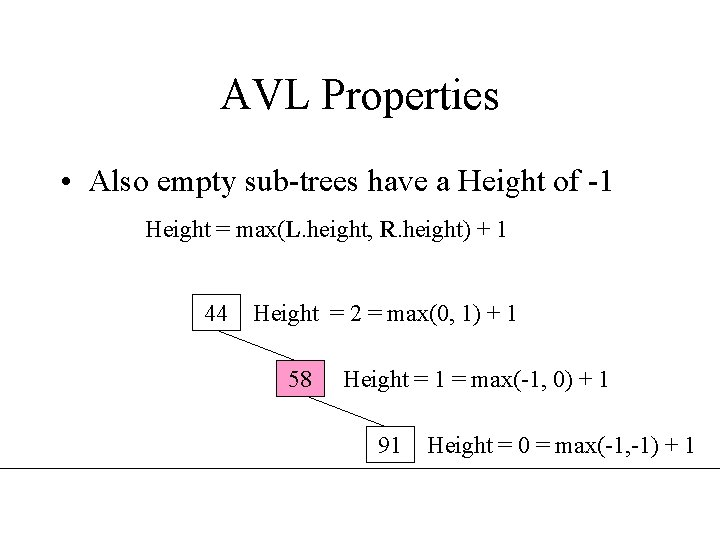 AVL Properties • Also empty sub-trees have a Height of -1 Height = max(L.