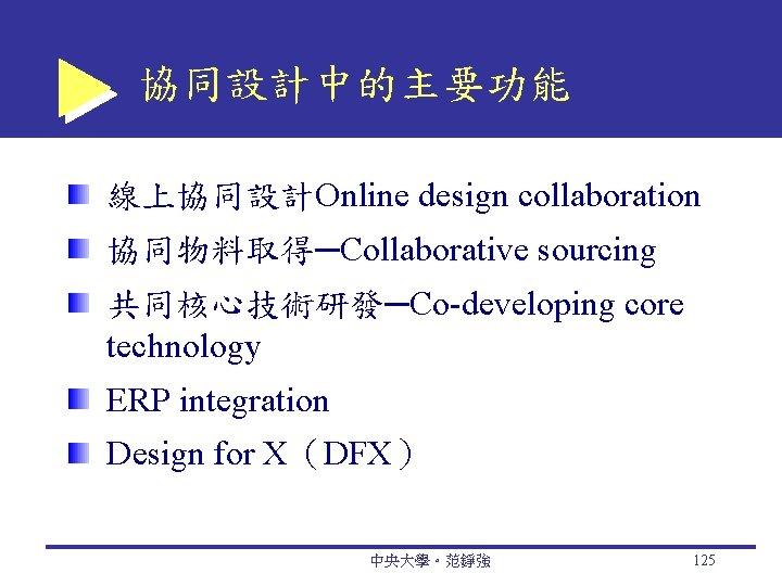 協同設計中的主要功能 線上協同設計Online design collaboration 協同物料取得─Collaborative sourcing 共同核心技術研發─Co-developing core technology ERP integration Design for X(DFX)