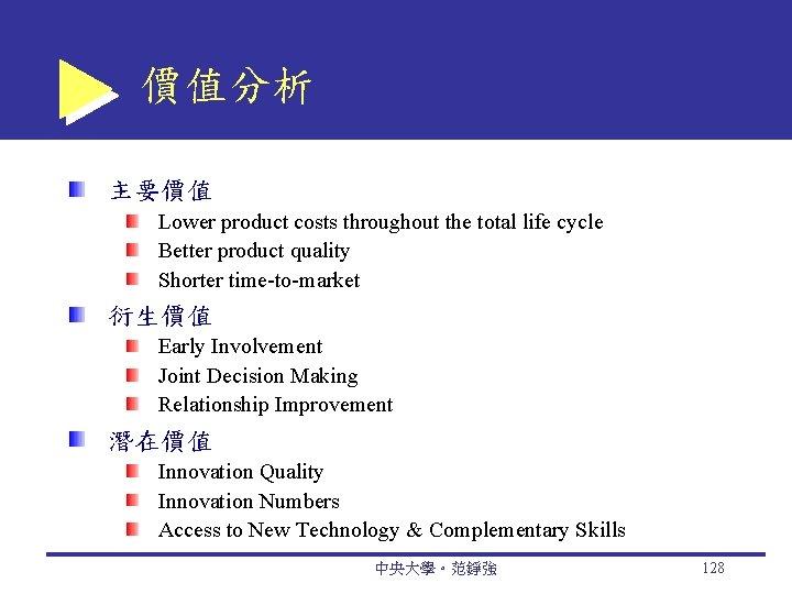 價值分析 主要價值 Lower product costs throughout the total life cycle Better product quality Shorter