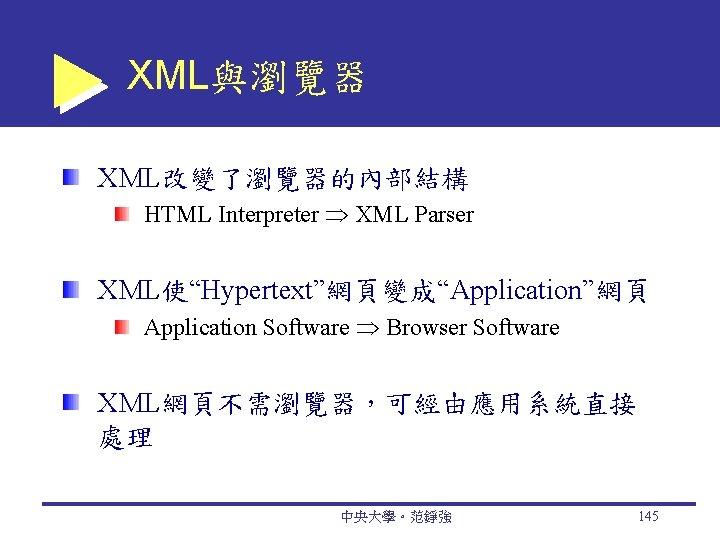 "XML與瀏覽器 XML改變了瀏覽器的內部結構 HTML Interpreter XML Parser XML使""Hypertext""網頁變成""Application""網頁 Application Software Browser Software XML網頁不需瀏覽器,可經由應用系統直接 處理 中央大學。范錚強"